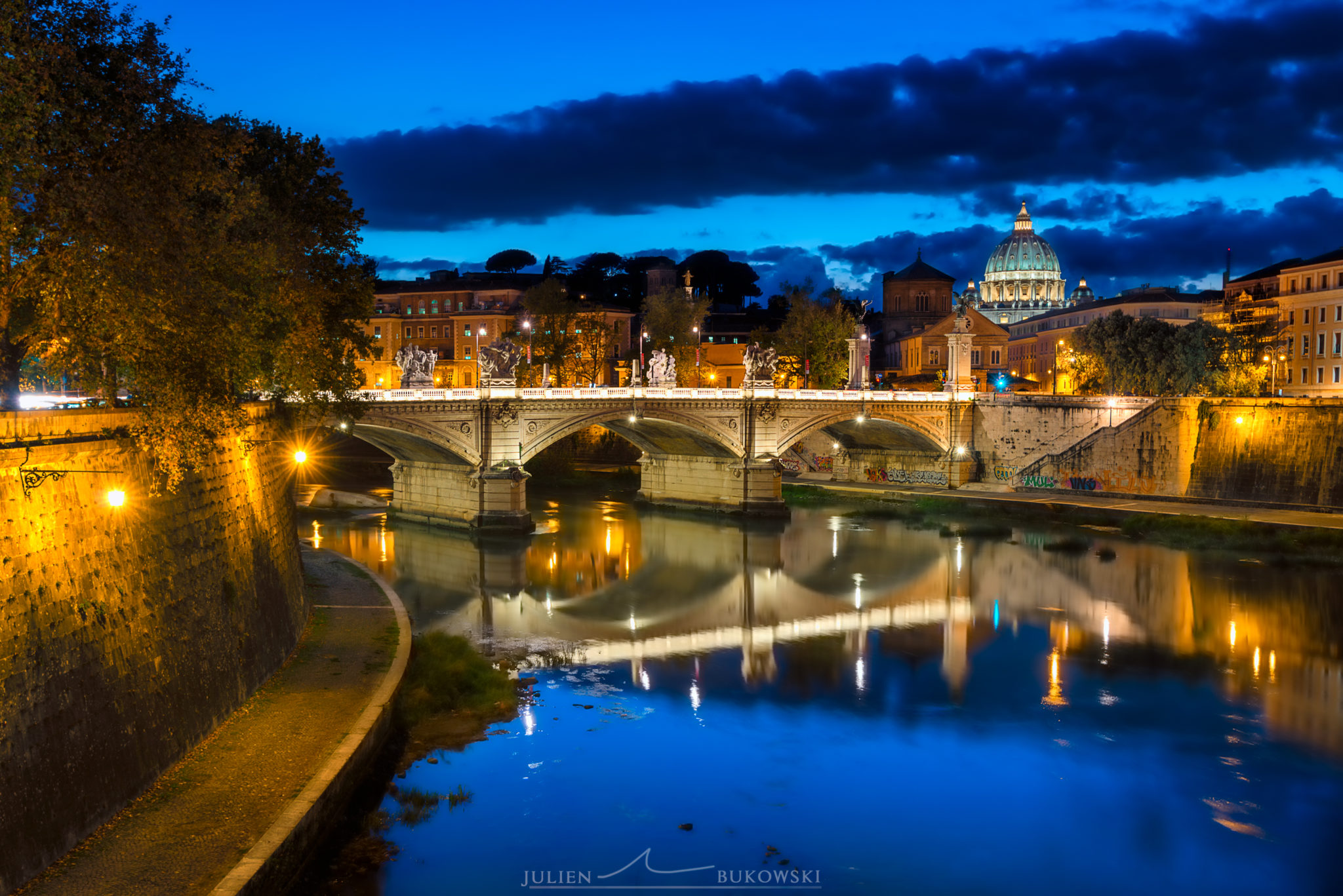 Vatican depuis le pont St Angelo (Italie)